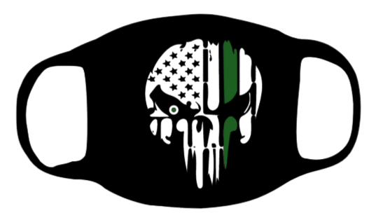 Punisher Skull with Thin Green Line Face Mask