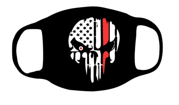Punisher Skull with thin Red line Face Mask