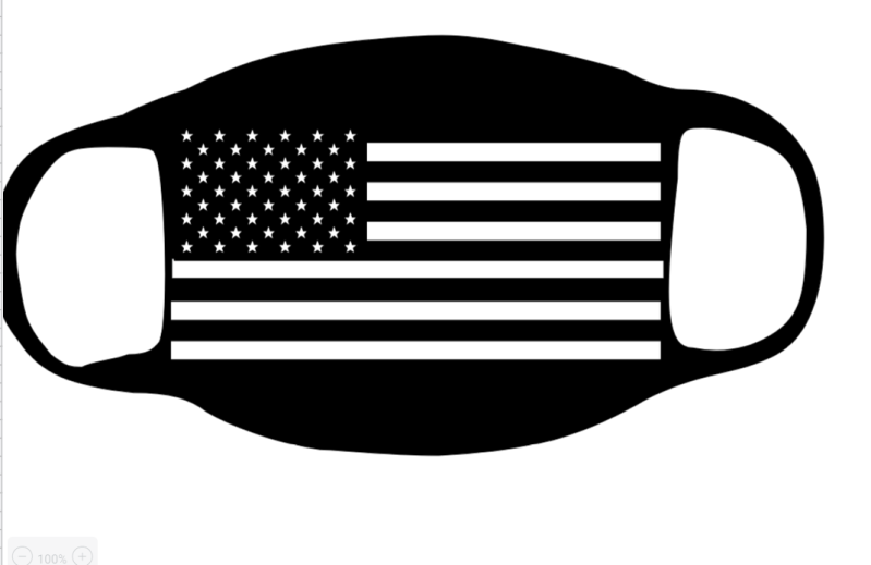 Flag with the Thin White Line for first responders Face Mask