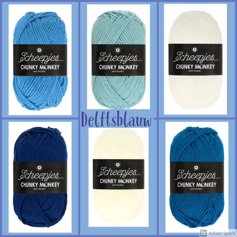 Pakket Scheepjes Chunky Monkey of Colour Crafter 'Delftsblauw'