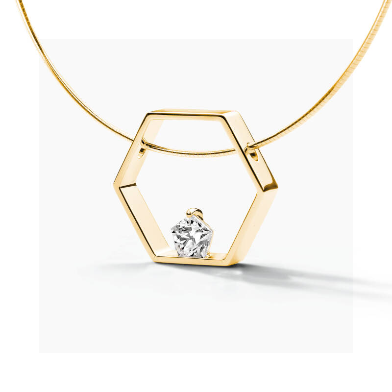 FJF Collier Pentagon Yellowgold/White FJF0010003YWH