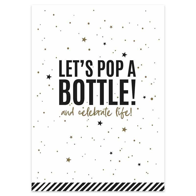Kaart Let's pop a bottle and celebrate life!