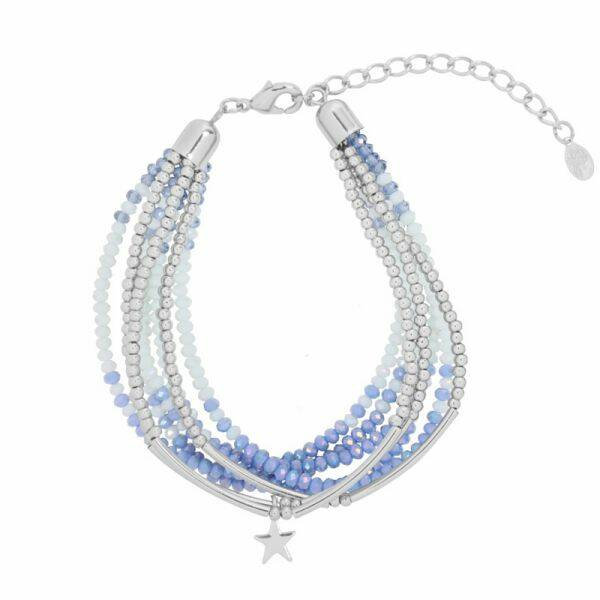 Armband Groovy beads and star blauw