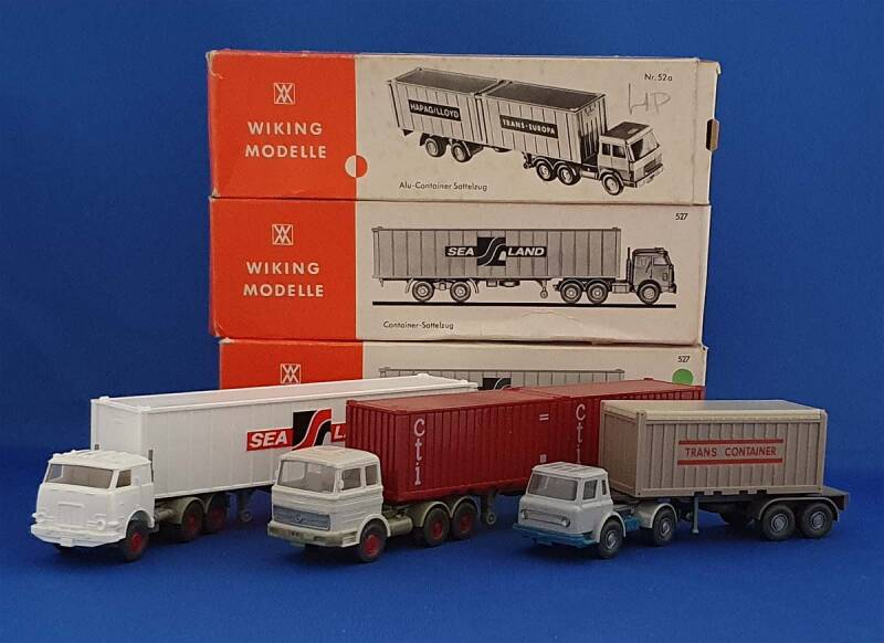 "Wiking - set van 3x Containertruck ""Opruiming"" (9101)"