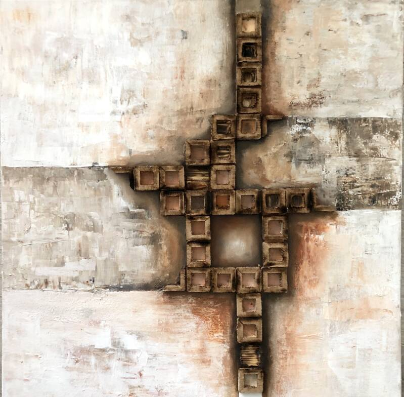 IMBALANCE, abstract painting, on canvas 50/50cm, white, brown