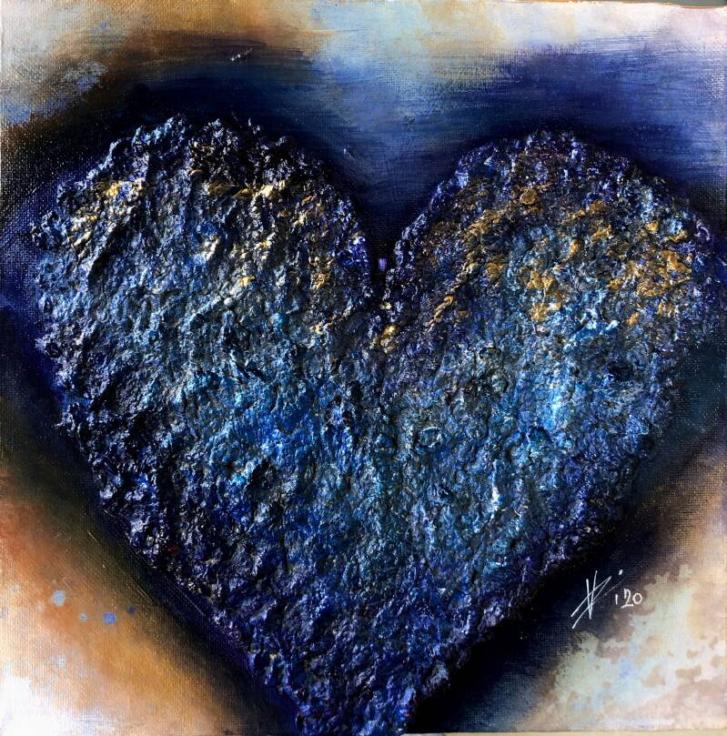 The Blue Heart, abstract painting, canvas 3D 30/30cm, blue, coper