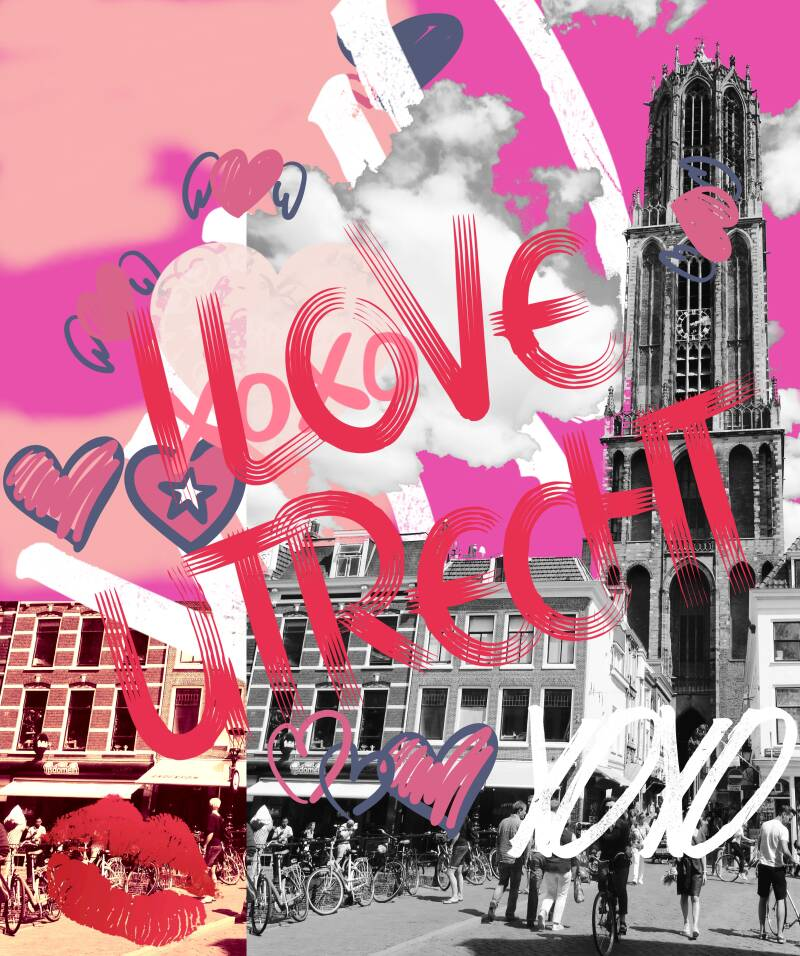 PLEXIGLAS DIGITAL ART UTRECHT LOVE PINK | 60x40cm Photo Print