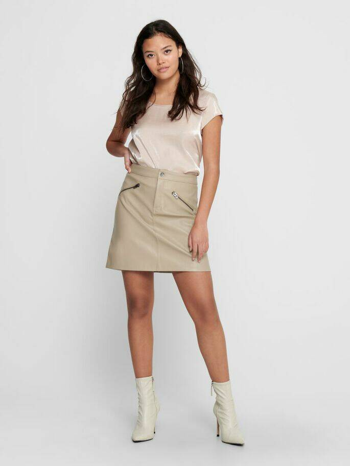 Heidi Faux leather skirt Cobble stone