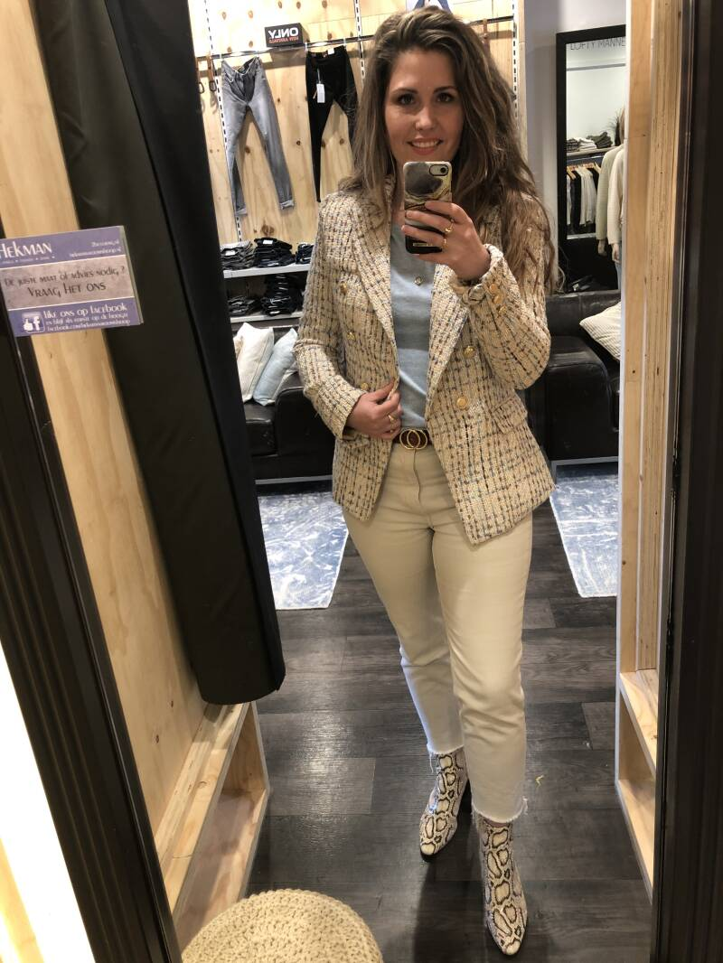 Attentif Paris Blazer Beige/Blue