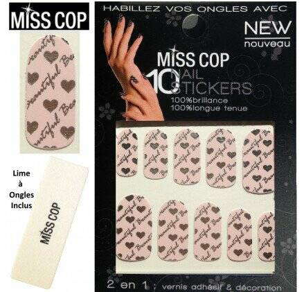Miss Cop Nagel Sticker – Nagel Art Rose harten-print
