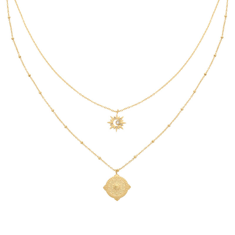 ketting RVS goud compass star