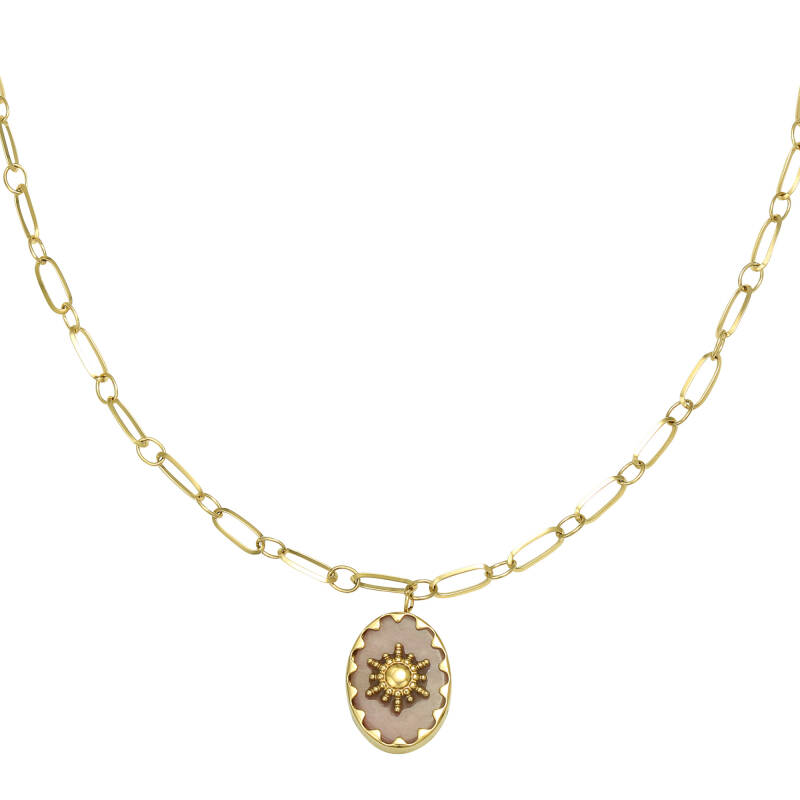 ketting RVS goud ray of light roze