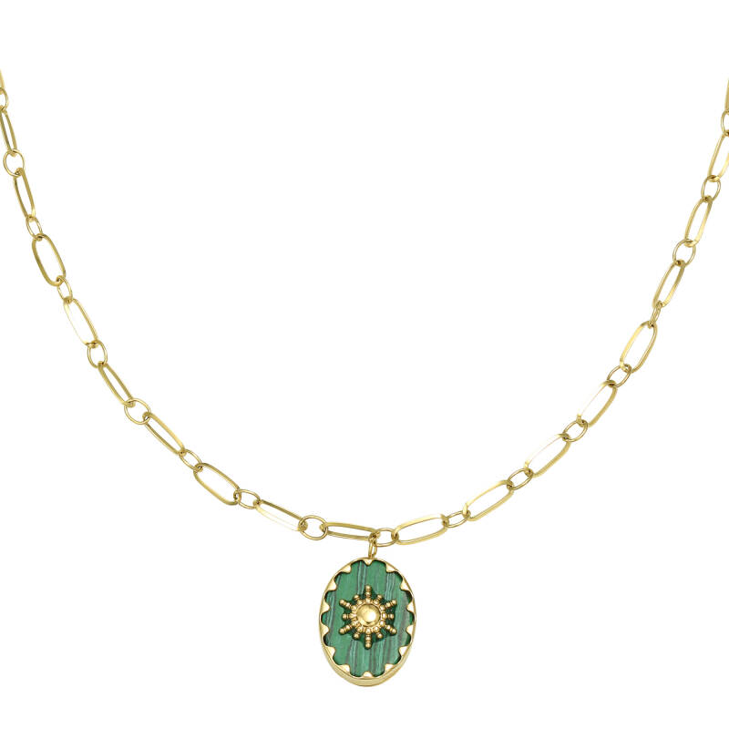 ketting RVS goud ray of light groen