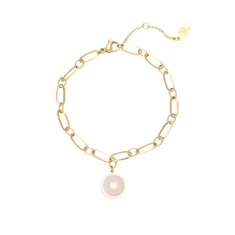 armband RVS goud chain away baby pink