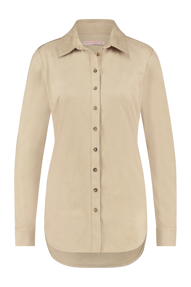 Studio Anneloes Poppy suede blouse camel