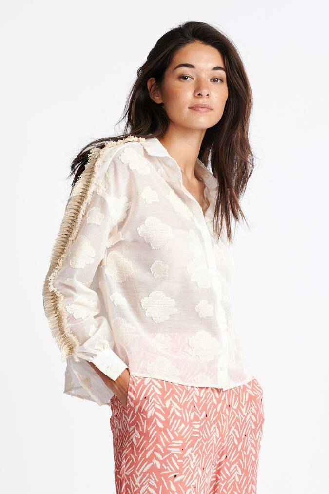 POM Blouse Floating Clouds white