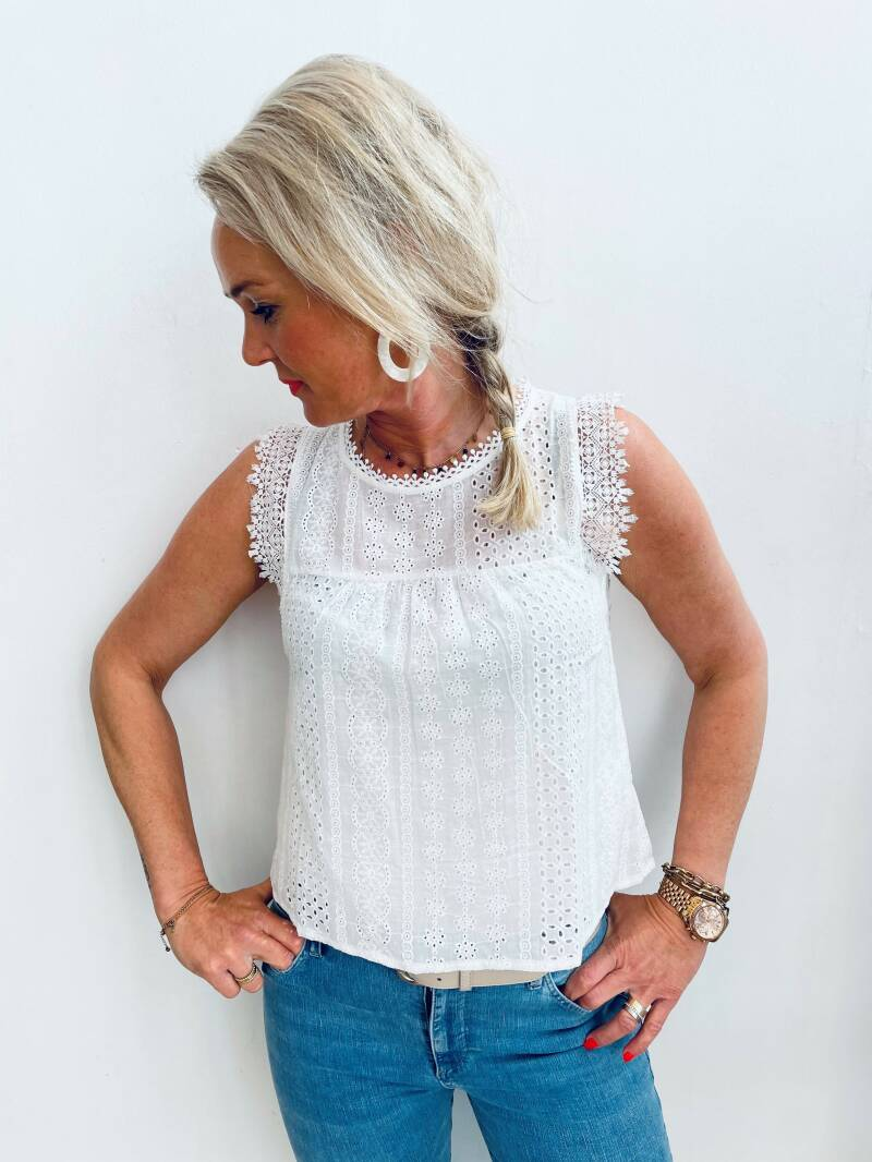 Top broderie - off white