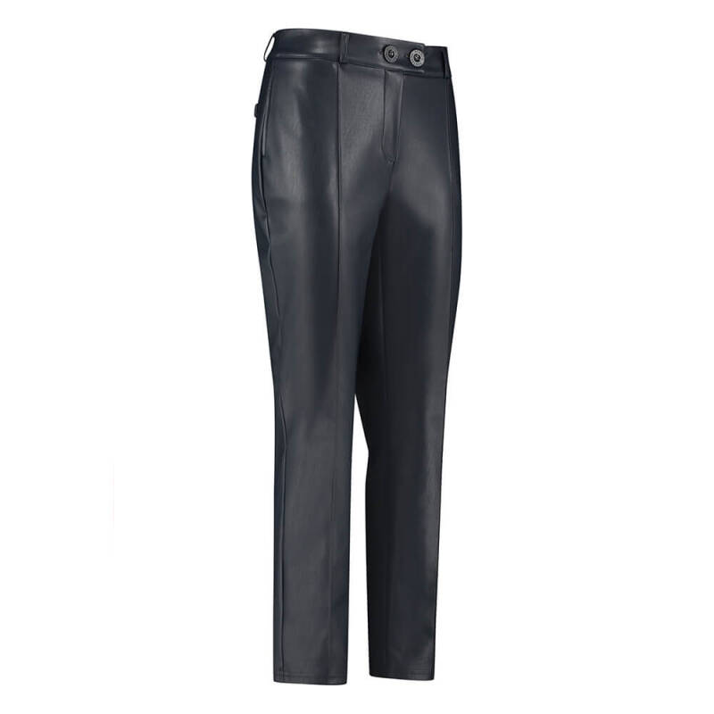 Studio Anneloes Romy faux leather trousers - dark blue