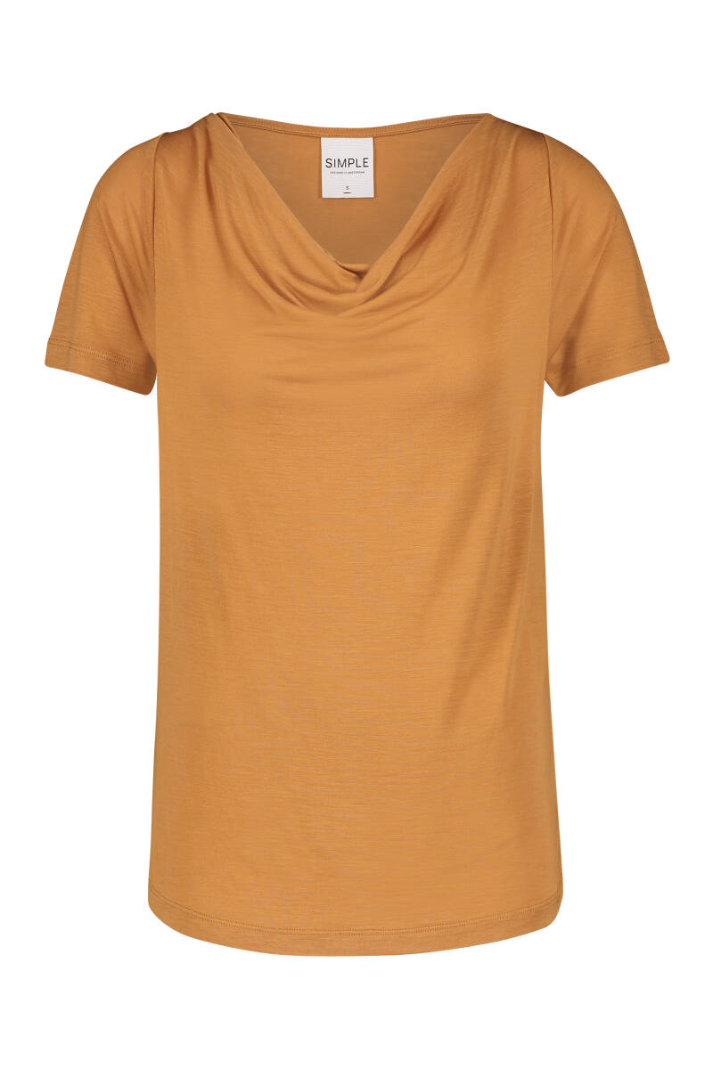 SS21 Simple Top Fleur SS with cowl neck Roasted peacan