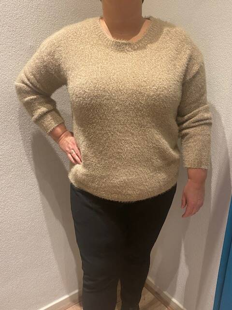 Tramontana trui chenille knit mid taupe