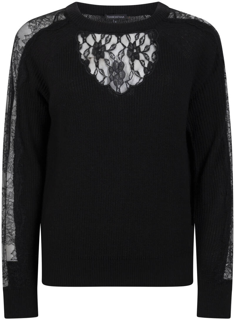 Tramontana Jumper with lace black Y06-96-601