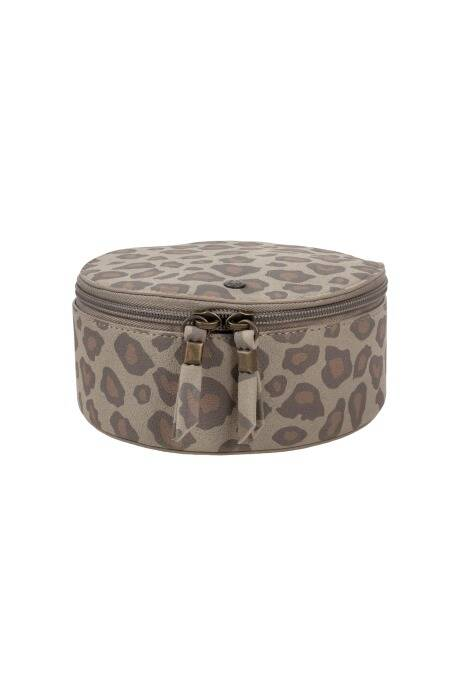 Make-up tasje rond - leopard