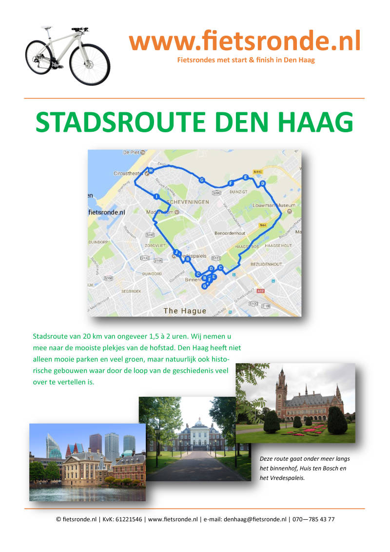 Fietsroute Stadsroute Den Haag | 12 pagina's A5 formaat | full colour