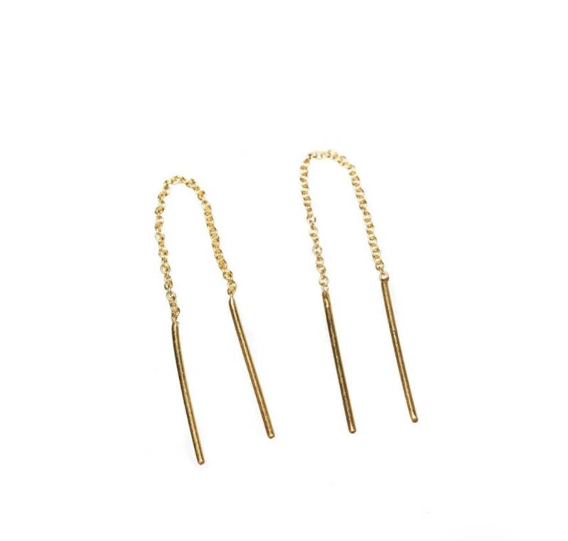 Oorbellen Chain Bar goldplated