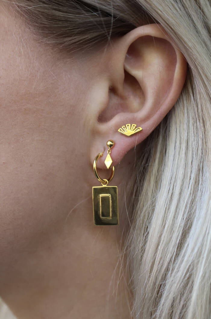 Oorbellen Small Fan earstud goldplated