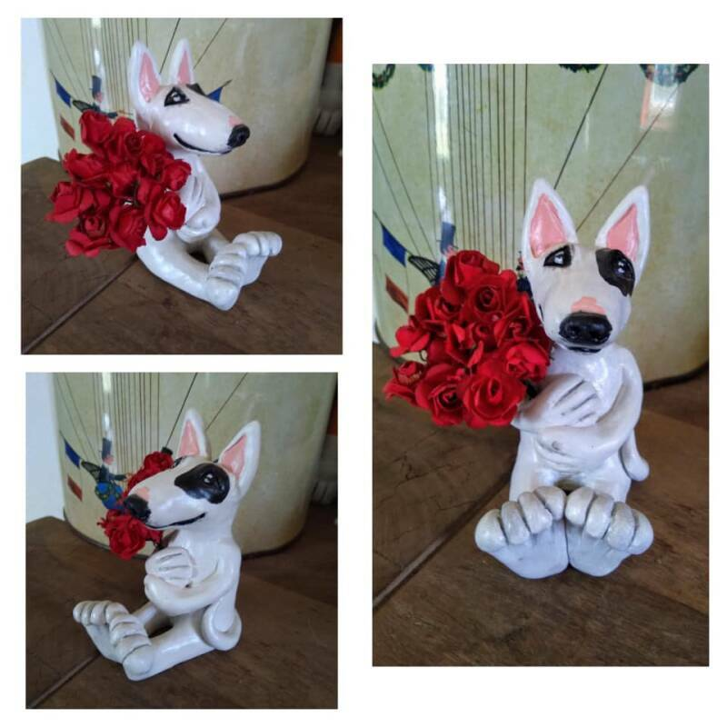 OOAK Bull Terrier sculpture with roses !