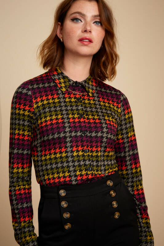 KING LOUIE BLOUSE HOUNDSTOOTH