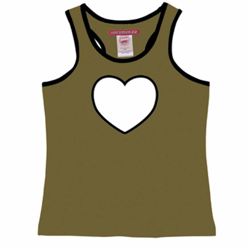 Love Station22 Tanktop heart kaki & b/w