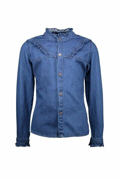 B.Nosy Girls Blouse Mid Blue Denim