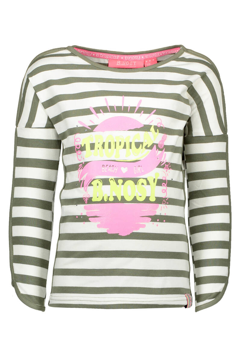 B Nosy Girls long sleeve stripe shirt  966 - Y/D stripe 1,2x1,5 Fern green white