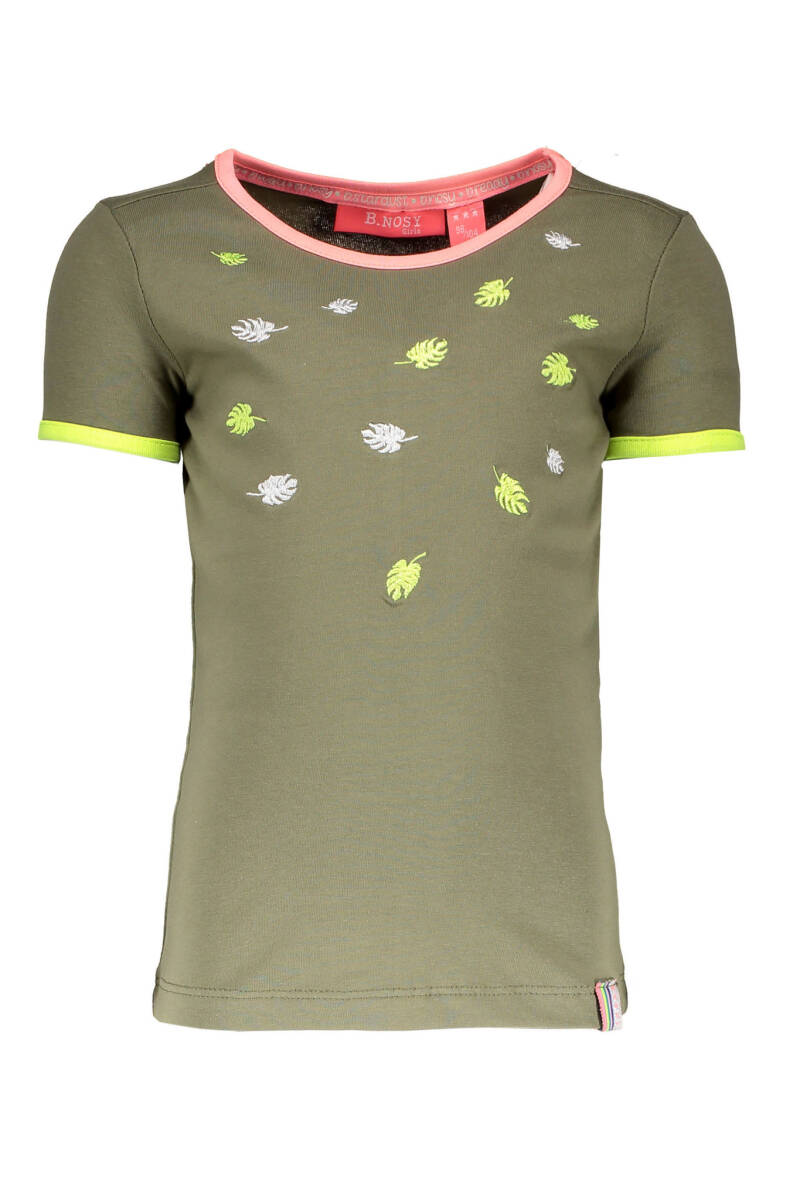 B Nosy Girls ss leaves embroidery shirt