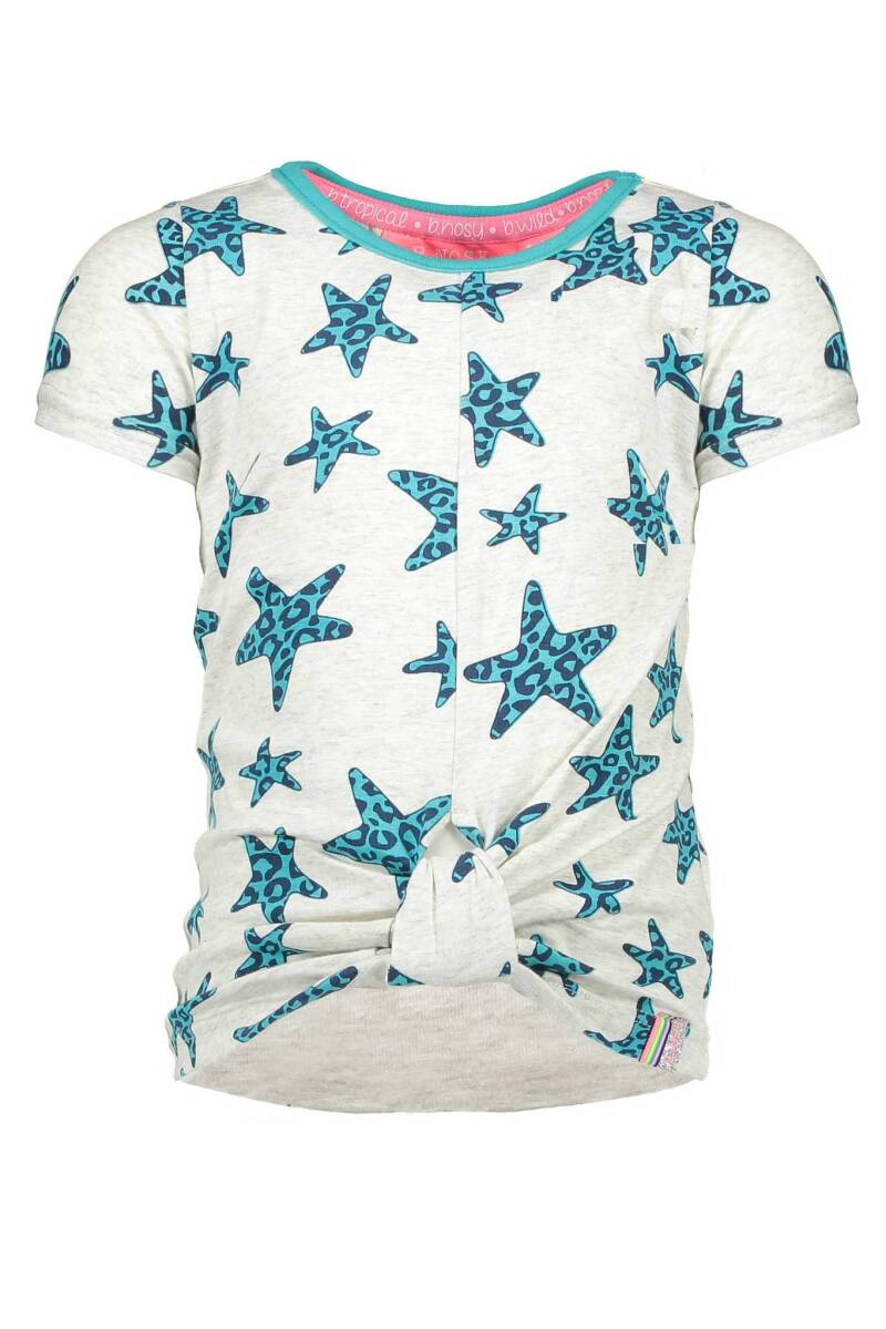 B Nosy Girls ss star shirt with knot effect in hem front