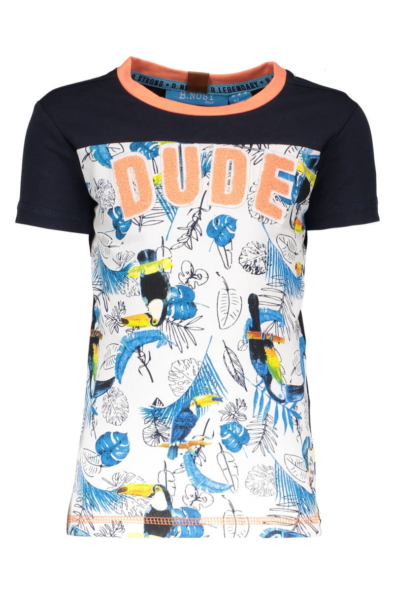B Nosy Boys t-shirt with AO print  982 - Toucan ecru melee AO