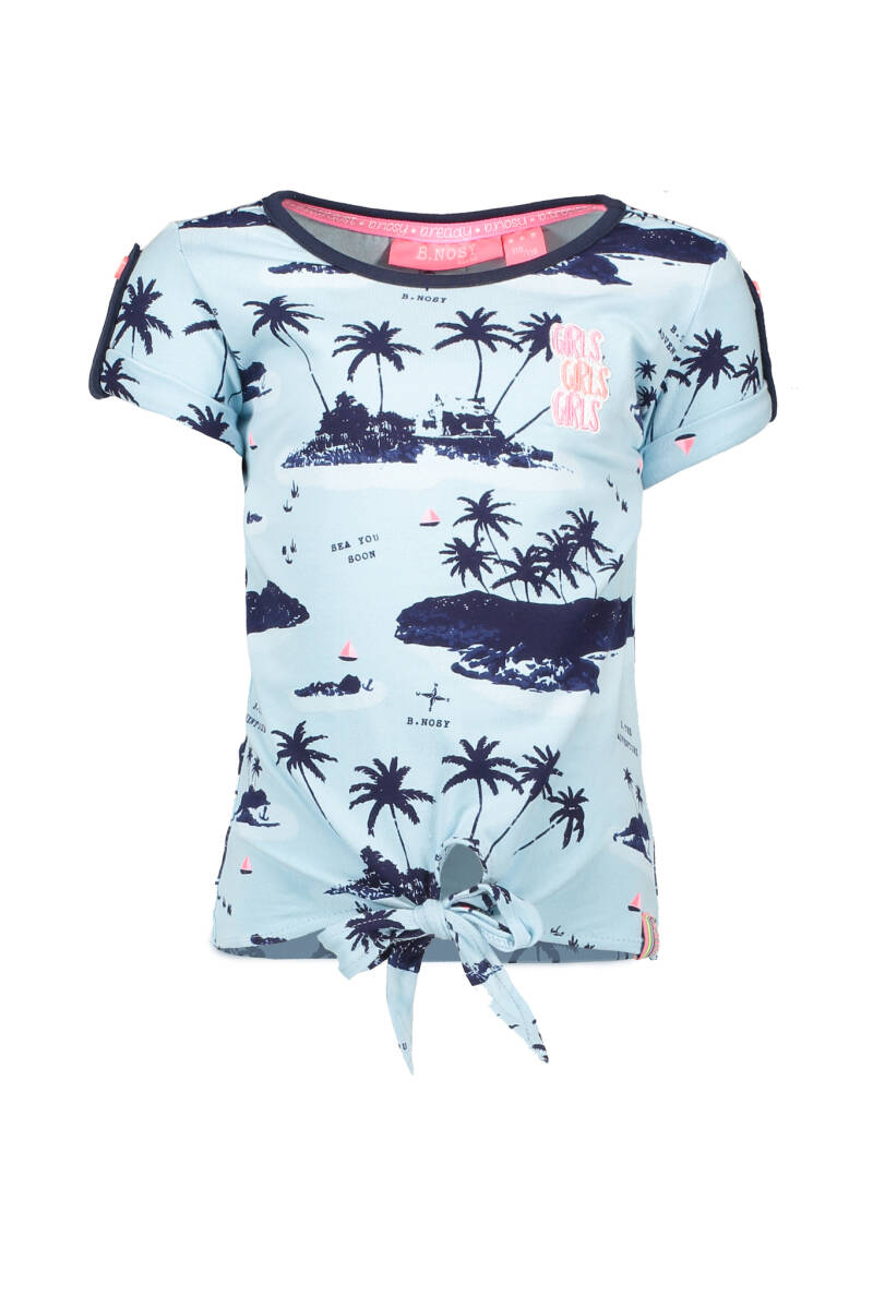 B Nosy Girls ss knot shirt with allover print  954 - Aloha blue AO sky delight