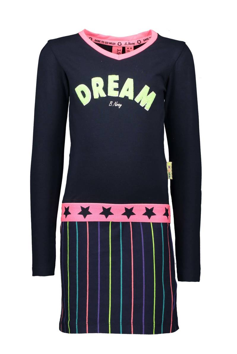 B Nosy Girls dress with stripe skirt and direct terry application