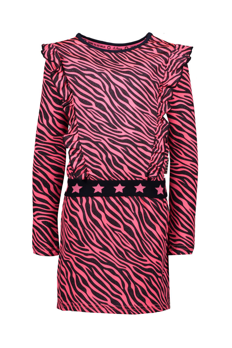 B Nosy Girls zebra dress with ruffles, fancy elastic