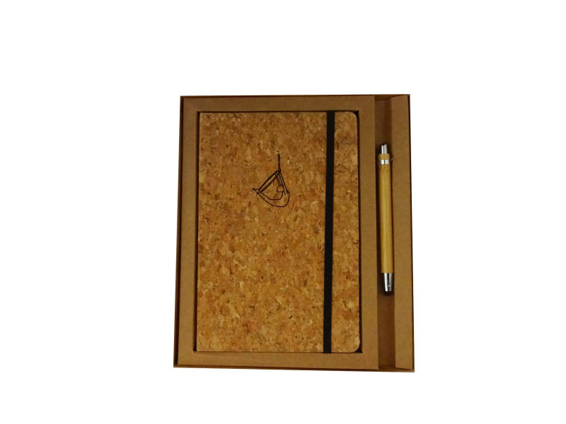 € 17,50 - Giftset Notebook A5 Cork with bamboo stylo - Aerial Hoop - Swallow