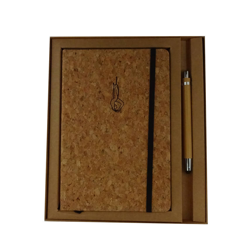 € 17,50 - Giftset Notebook A5 Cork with bamboo stylo - Aerial Hoop -Back Ballance Ring
