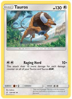 Tauros - 129/181 - S&M TeamUp - Uncommon