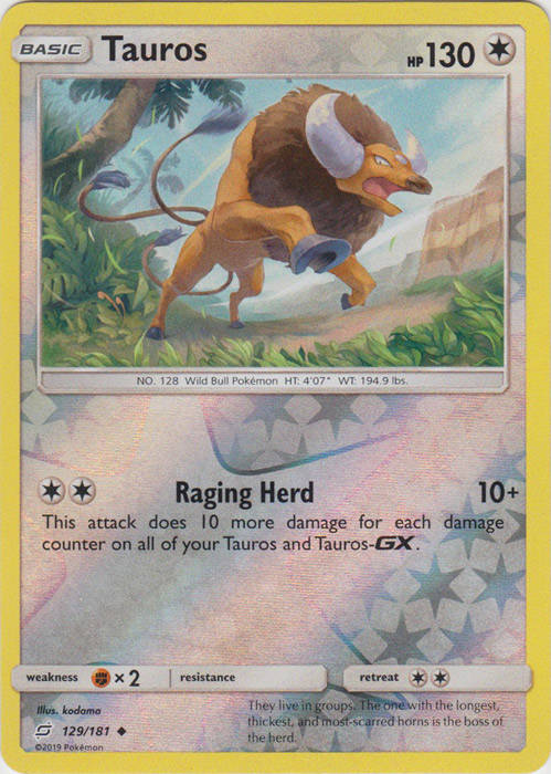 Tauros - 129/181 - S&M TeamUp - Uncommon Reverse Holo
