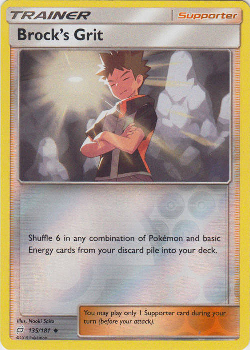 Brock's Grit - 135/181 - S&M TeamUp - Uncommon Reverse Holo