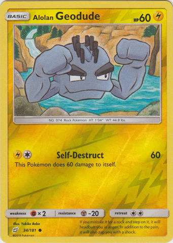 Alolan Geodude - 34/181 - S&M TeamUp - Common Reverse Holo