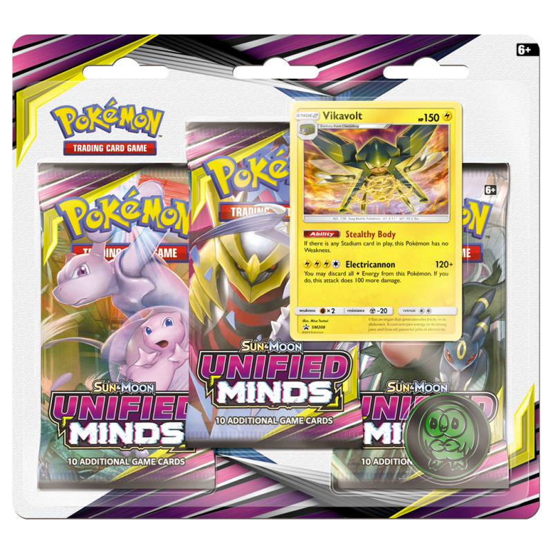 Sun & Moon Unified Minds 3 Pack Blister Vikavolt
