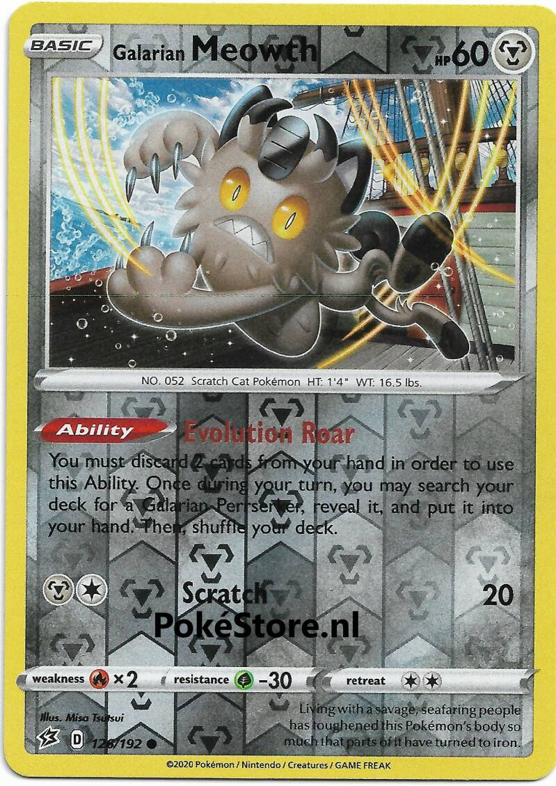 Galarian Meowth -126/192- SWSH Rebel Clash - Common Reverse Holo