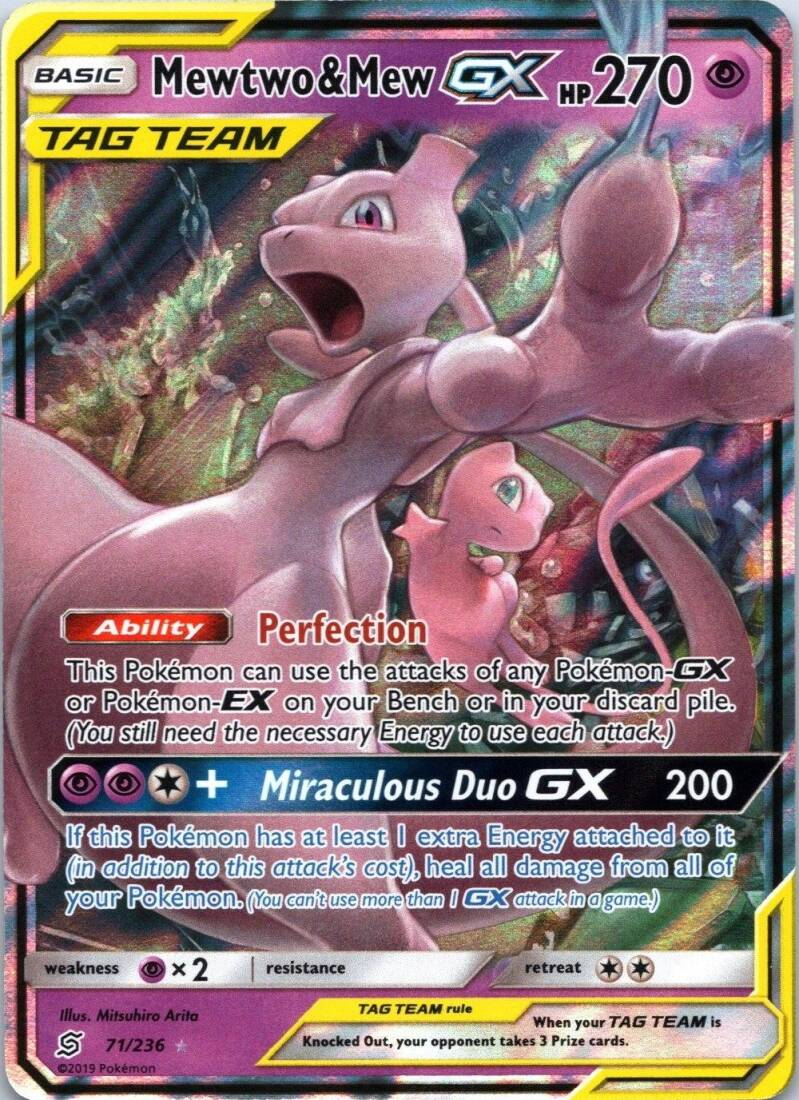 Mewtwo & Mew GX 71/236- S&M Unified Minds - Ultra Rare