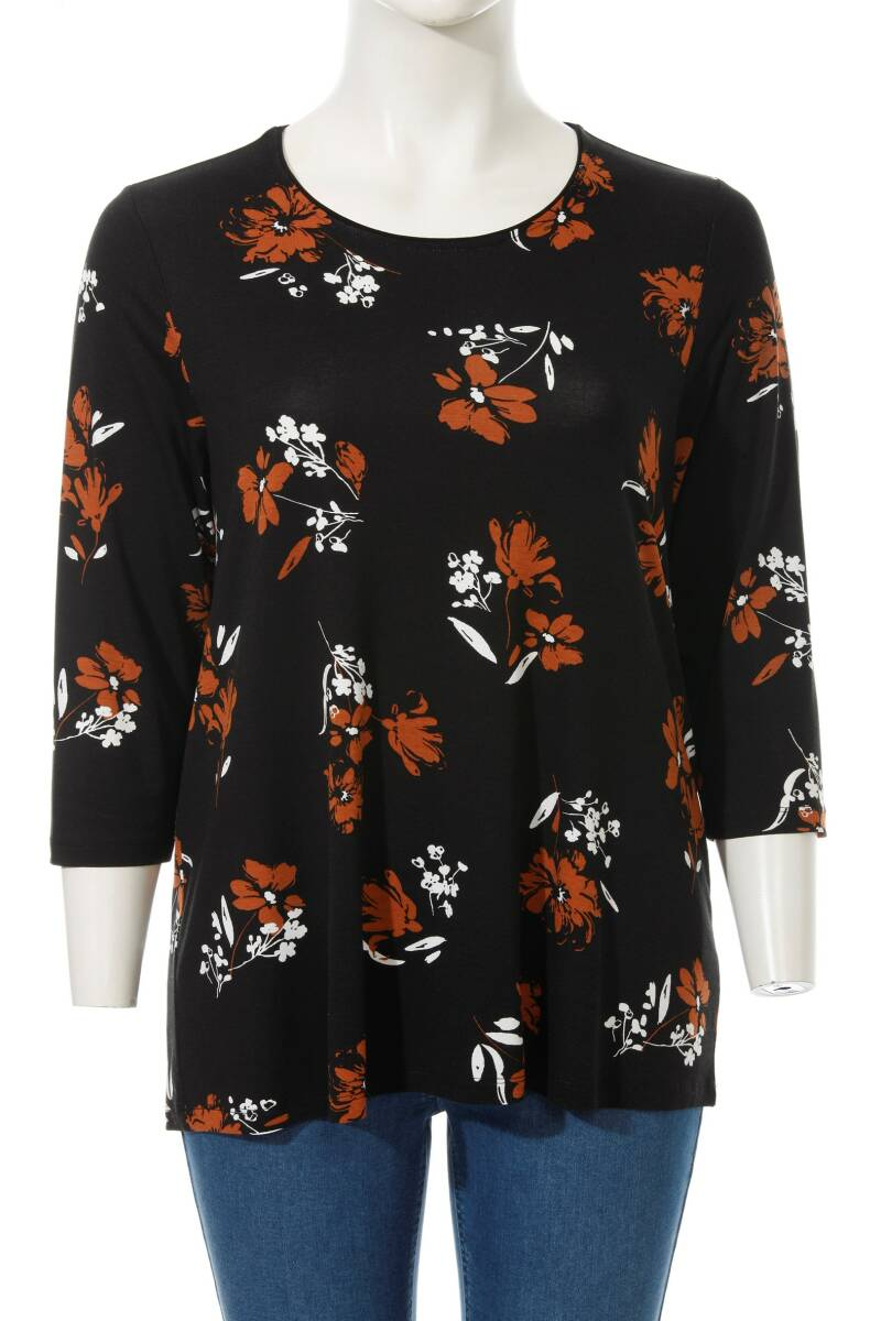 Via Appia Due - T-shirt met bloemenprint en 3/4 mouwen 48146 (650897)